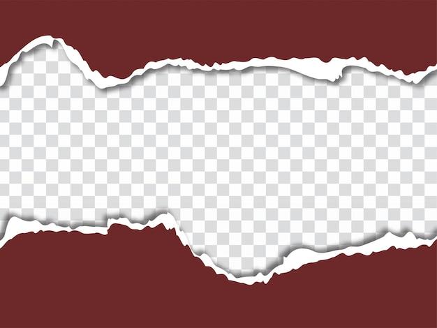 Hoja de estilo de papel rasgado sobre fondo transparente