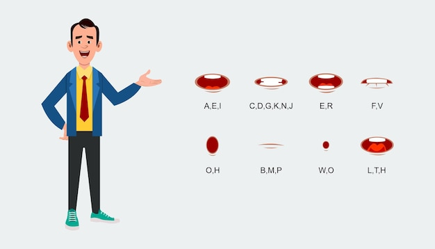 Hoja de expresión de sincronización de labios de personajes para animación.