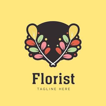 La hoja de la flor deja el símbolo del icono del logotipo del laurel de la guirnalda del florista para la floristería en estilo colorido