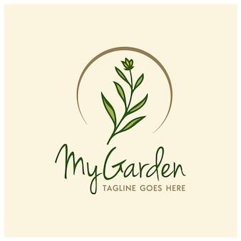 Hoja de flor de hierba de belleza con círculo dorado para el diseño del logotipo de la planta del jardín trasero