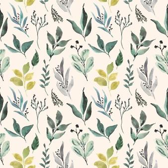 Hoja floral acuarela de patrones sin fisuras