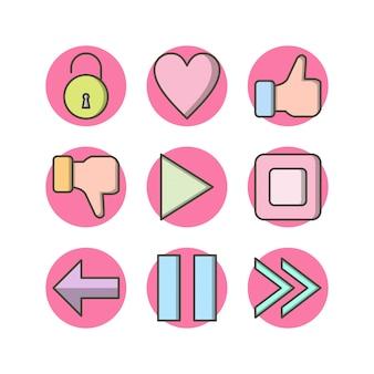 Hoja de iconos de 9 elementos básicos aislada en blanco
