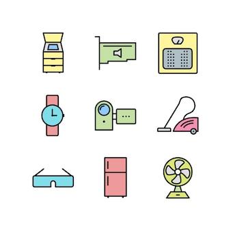 Hoja de iconos de dispositivos electrónicos aislada sobre fondo blanco