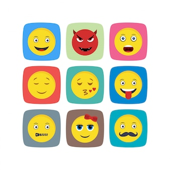 Hoja de iconos emoji aislada sobre fondo blanco