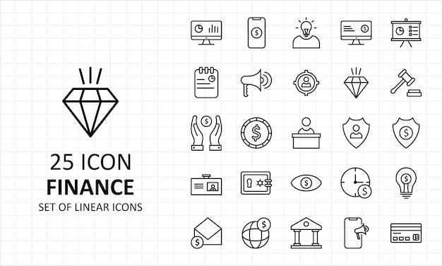 Hoja de iconos de finanzas pixel perfect