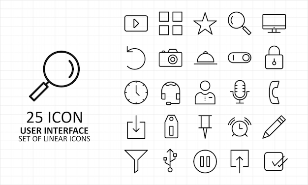 Hoja de iconos de interfaz de usuario pixel perfect