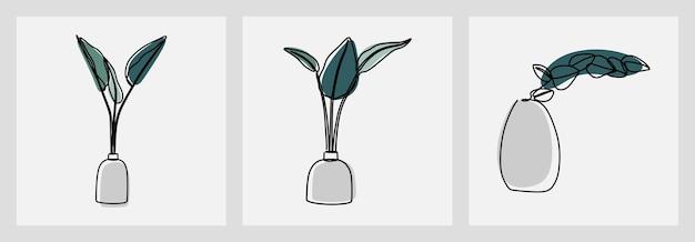 Hoja en un jarrón en línea conjunto de arte de línea continua vector premium