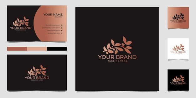 Hoja de logotipo femenino y tarjeta de visita.
