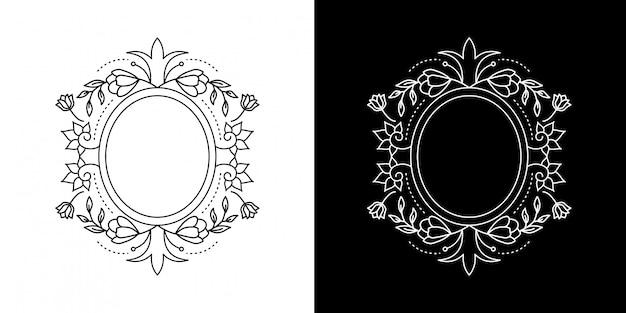 Hoja con marco de círculo de flores monoline