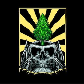 La hoja de marihuana crece en la ilustración del cráneo