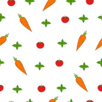 Hoja de menta, tomate, zanahoria mercado de verano de patrones sin fisuras