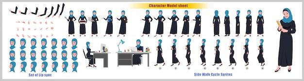 Hoja de modelo de diseño de personaje de estudiante árabe con animación de ciclo de caminata. diseño de personajes de niña. frontal, lateral, vista posterior y poses de animación explicativas. conjunto de caracteres con varias vistas y sincronización de labios