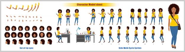 Hoja de modelo de diseño de personaje de niña afroamericana con animación de ciclo de caminata. diseño de personajes de niña. frontal, lateral, vista posterior y poses de animación explicativas. juego de caracteres con sincronización de labios