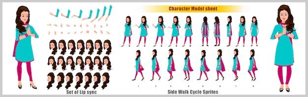 Hoja de modelo de diseño de personaje de niña india con animación de ciclo de caminata. diseño de personajes de niña. frontal, lateral, vista posterior y poses de animación explicativas. conjunto de caracteres con varias vistas y sincronización de labios