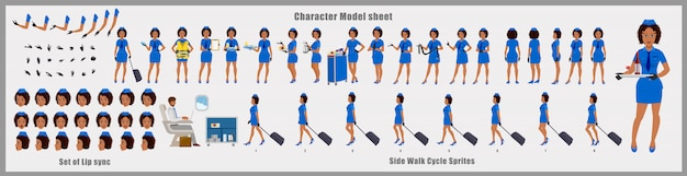 Hoja de modelo de diseño de personajes de azafata afroamericana con animación de ciclo de caminata. diseño de personajes de niña. frontal, lateral, vista posterior y poses de animación explicativas. conjunto de caracteres y sincronización de labios