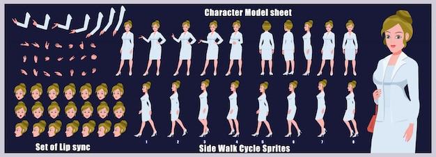 Hoja de modelo de personaje de business girl con animaciones de ciclo de caminata y sincronización de labios