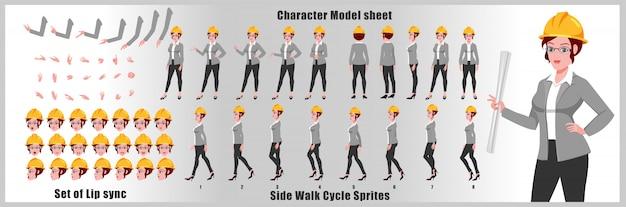 Hoja de modelo de personaje de engineer girl con animaciones de ciclo de caminata y sincronización de labios