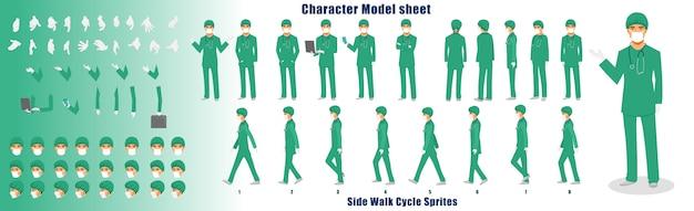 Hoja de modelo de personaje médico con secuencia de animación de ciclo de caminata