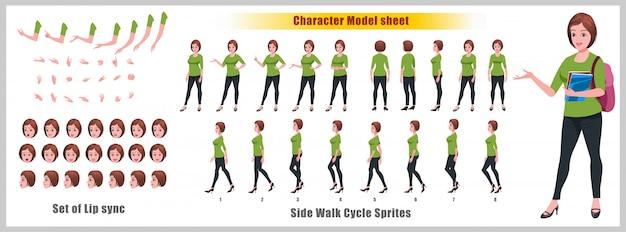 Hoja de modelo de personaje de niña estudiante con animaciones de ciclo de caminata y sincronización de labios