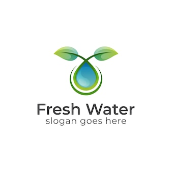 Hoja de naturaleza con logotipos puros de gota de agua, hoja que crece con aceite de belleza