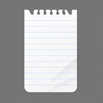 Hoja de notas de papel para mensaje