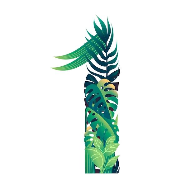 Hoja número 1 con diferentes tipos de hojas verdes y follaje ilustración de vector plano de diseño de estilo de dibujos animados aislado sobre fondo blanco.