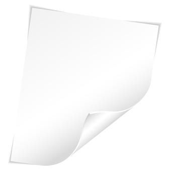 Hoja de papel en blanco con esquina curva