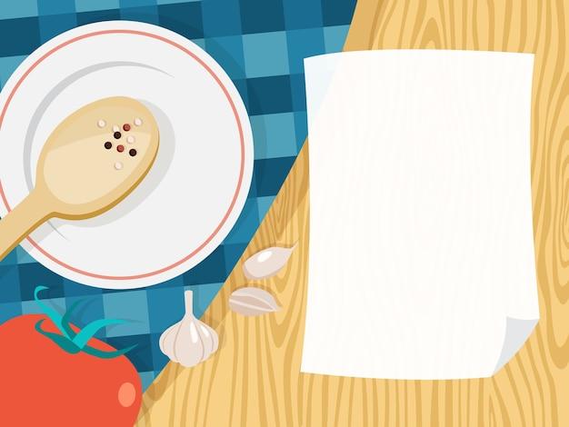 Hoja de papel blanco vacía para cocinar receta. página del menú en el fondo de la cocina. ilustración