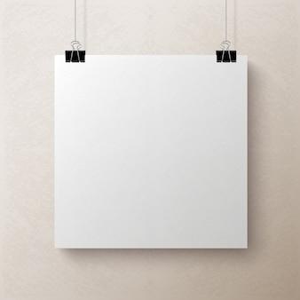 Hoja de papel cuadrada en blanco blanca