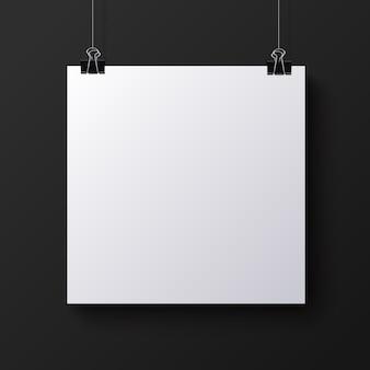 Hoja de papel cuadrada en blanco blanco, maqueta