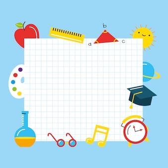 Hoja de papel a cuadros en blanco entre útiles escolares. de vuelta a la escuela. ilustración