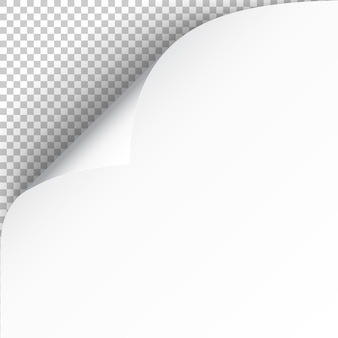 Hoja de papel con esquina curvada y sombra suave