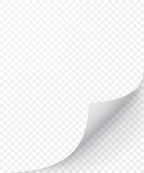 Hoja de papel con esquina rizada y sombra suave, plantilla para tu. conjunto.