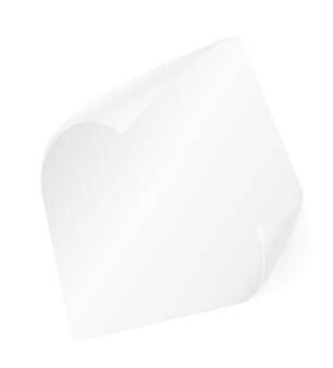 Hoja de papel con esquinas dobladas en blanco