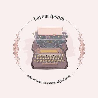 Hoja de papel y máquina de escribir vintage