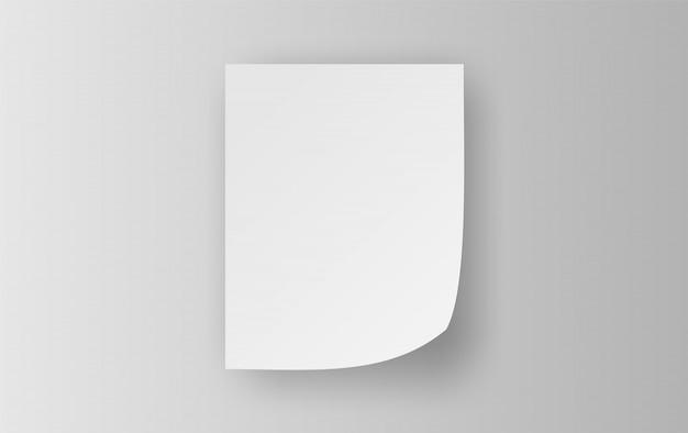 Hoja de papel de notas adhesivas blanca vacía