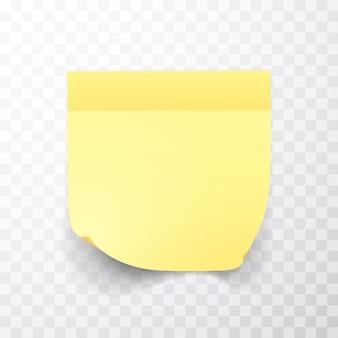 Hoja de papel de notas de color amarillo con esquina rizada y sombra