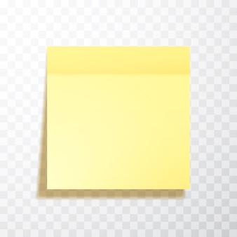 Hoja de papel de notas de color amarillo con sombra