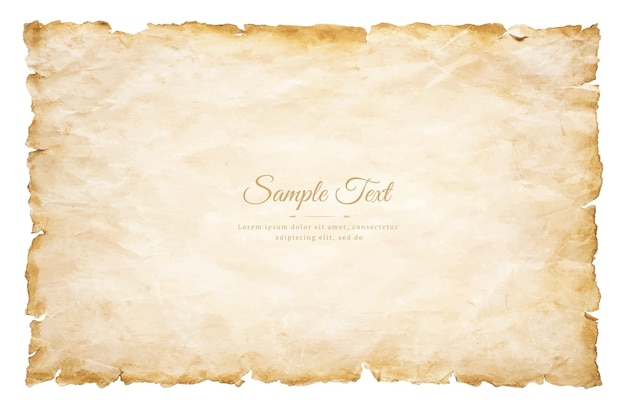 Hoja de papel de pergamino antiguo vintage envejecido o textura aislado sobre fondo blanco.