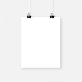 Hoja de papel vertical en blanco realista blanco con juego de sombras