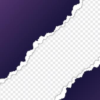 Hoja de papel violeta rasgada con fondo transparente