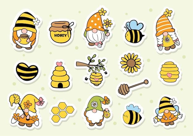 Hoja de pegatinas de gnomo de abeja