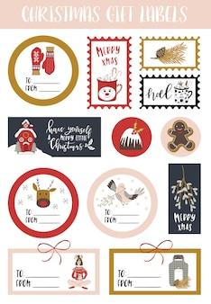 Hoja de pegatinas de regalo de navidad.