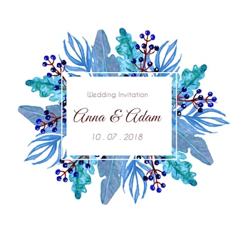 Hoja pintada a mano azul con marco de hojas, invitación de boda