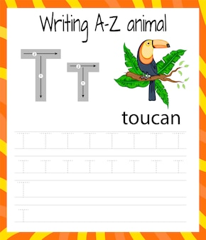 Hoja de práctica de escritura a mano t