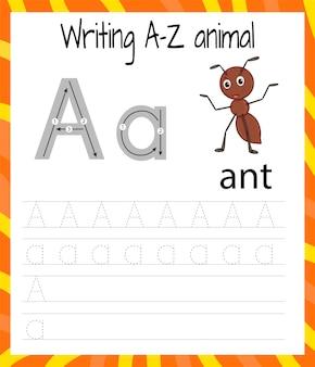 Hoja de práctica de escritura a mano a