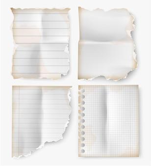Hoja rasgada vintage realista de papel de cuaderno