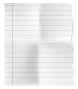 Hoja rasgada vintage realista de papel de cuaderno.