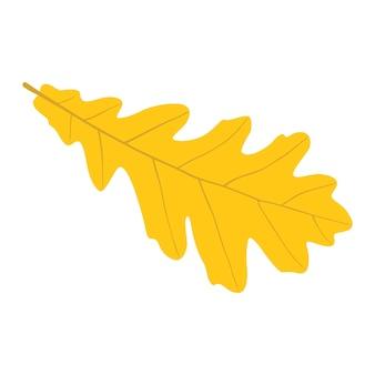 Hoja de roble amarillo otoñal