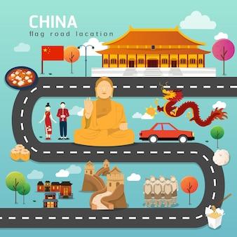 Hoja de ruta y ruta de viaje en china